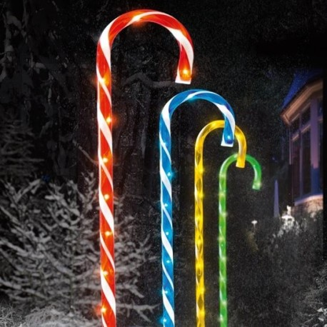 Outdoor Pathway Finders Lights - Set of 4 Multi Coloured Candy Cane