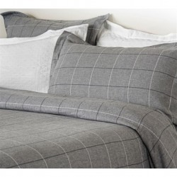 Acton Brushed Cotton Duvet Cover in Grey - Single 135x200cm
