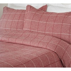 Acton Brushed Cotton Duvet Cover in Red - Single 135x200cm