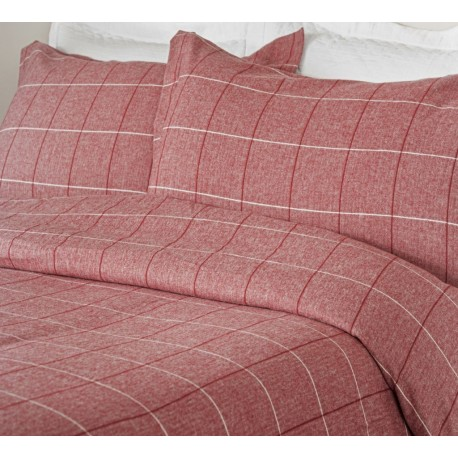 Acton Brushed Cotton Duvet Cover in Red - Pillowcase 50x75cm