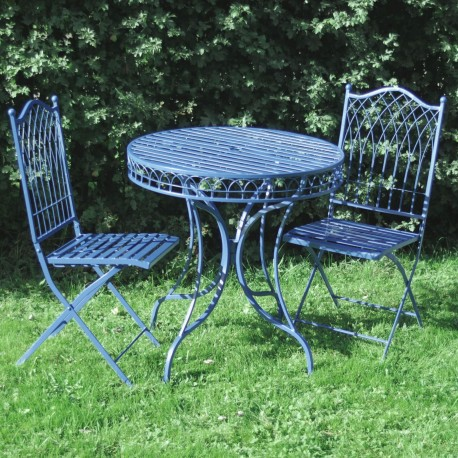 Livorno Wrought Iron Bistro Set -Table & 2 Folding Chairs in Blue