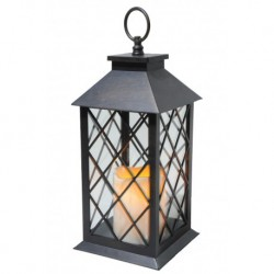 Black Lantern with LED Candles and Timer - 35cm Height - Christmas Decoration