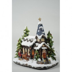 Light Up Christmas Church Snow Scene with Fibre Optics