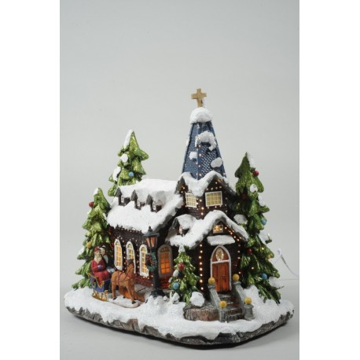 Light Up Christmas Church Snow Scene with Fibre Optics
