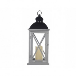 Grey Tall Metal Lantern with Timer- Christmas Decoration
