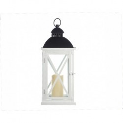 WhiteTall Metal Lantern with Timer- Christmas Decoration