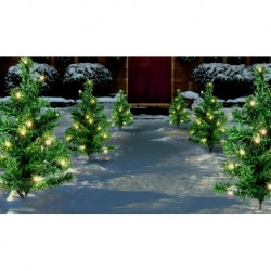 Set of 6 pre-lit Trees Christmas Outdoor Pathway Finders Lights Garden Drive Entrance