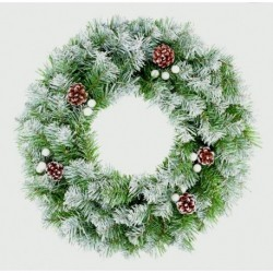 Christmas Wreath with Snow Tips and cones (50cm)