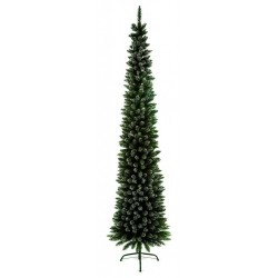 Slimline Pencil Artificial Christmas Green Pine Tree with Snowy tips - 200cm