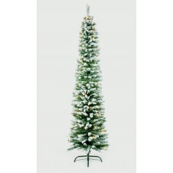 Slimline Pencil Artificial Pre-lit Christmas Green Pine Tree with Snowy tips - 200cm