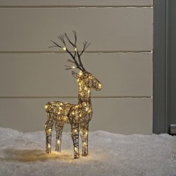 60cm Brown Wicker Standing Reindeer Outdoor - Warm White LED
