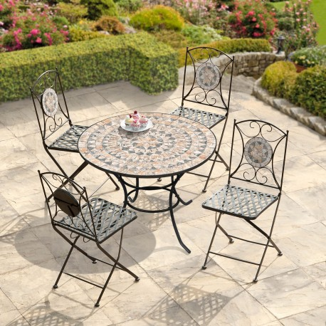 Turin Mosaic Bistro Set - Table & 4 Folding Chairs