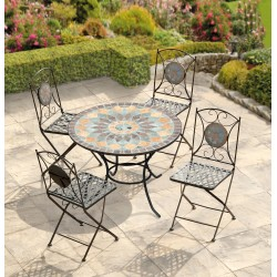 Naples 4 Seat Mosaic Bistro Set - Table & 4 Folding Chairs