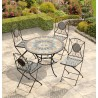 Naples Mosaic Bistro Set - Table & 4 Folding Chairs
