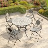 Milan 4 seat Mosaic Bistro Set - Table & 4 Folding Chairs