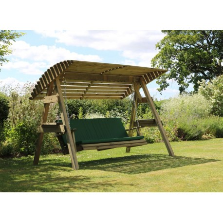 2 Seat Wooden Garden Swing with Canopy & green Seat Pad