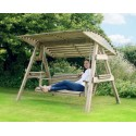 3 Seat Wooden Garden Swing with Canopy