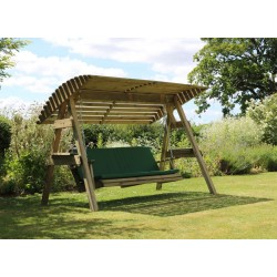 3 Seat Wooden Garden Swing with Canopy and Green Pad