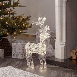 120cm/4ft Acrylic Standing Reindeer Outdoor - Warm White LED