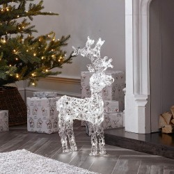 90cm/3ft Acrylic Standing Reindeer Outdoor - Cool White LED