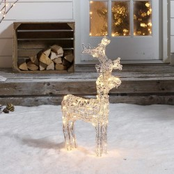 Christmas Outdoor Large 60cm/2ft Acrylic Standing Reindeer Pre-lit with Warm White LEDs Decoration