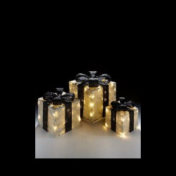 Sisal Gift Boxes with Pre-Lit Warm White lights and Ribbon in Silver/Black