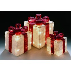Sisal Gift Boxes with Pre-Lit Warm White lights and Ribbon in White/Red