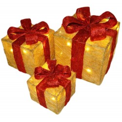 Sisal Gift Boxes with Pre-Lit Warm White lights and Ribbon in Gold/Red