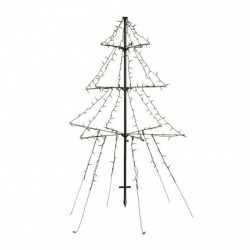 1.35m Easy Set Up Pre Lit Outdoor Tree 240 Warm White LED's Twinkle Multi Function