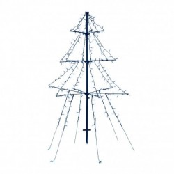 1.35m Easy Set Up Pre Lit Outdoor Tree 240 Cool White LED's Twinkle Multi Function