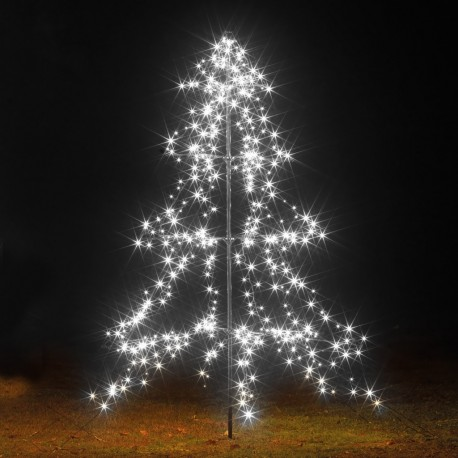 2m Easy Set Up Pre Lit Outdoor Tree 420 Cool White LED's Twinkle Multi Function