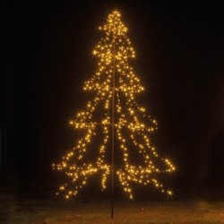3m Easy Set Up Pre Lit Outdoor Tree 600 Warm White LED's Twinkle Multi Function
