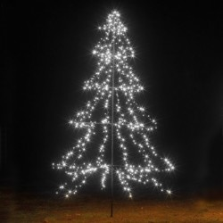 3m Easy Set Up Pre Lit Outdoor Tree 600 Cool White LED's Twinkle Multi Function