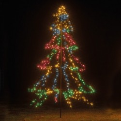 3m Easy Set Up Pre Lit Outdoor Tree 600 Multi-colour White LED's Twinkle Multi Function