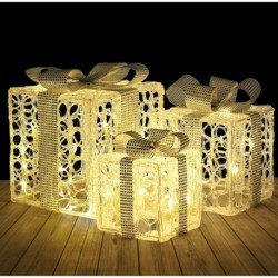 Pre-Lit Silver Gift Boxes with Warm White lights and Ribbon Acrylic