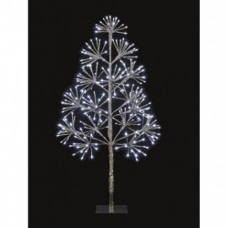 Silver Starburst Flashing Tree with 256 Cool White Led Light - 90cm