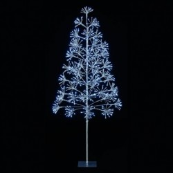Silver Starburst Flashing Tree with 576 Cool White Led Light - 150cm