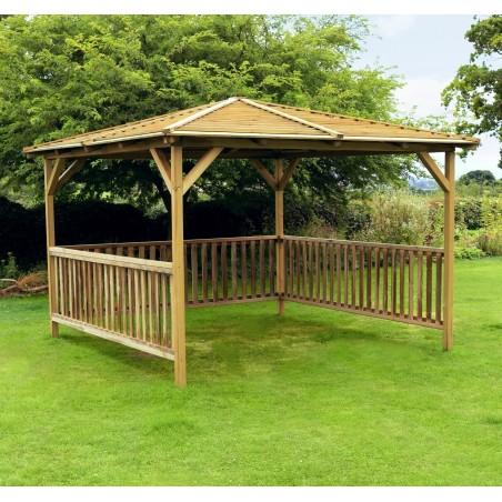 Benidorm 2.8m x 2.8m Garden Pavilion - Pressure Treated Wood Gazebo Shelter