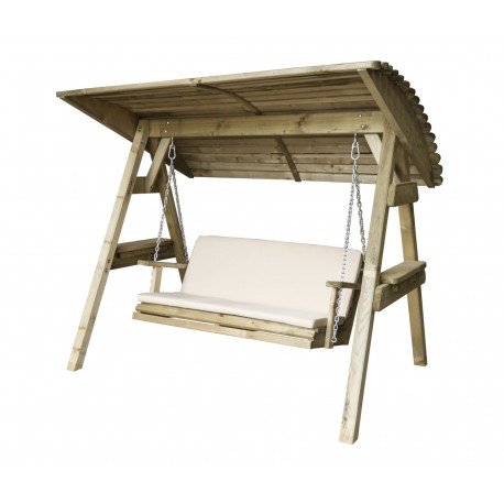 2 Seat Wooden Garden Swing with Canopy & Cream Pad