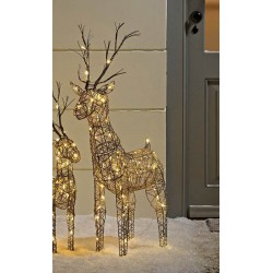 83cm Brown Wicker Standing Reindeer Outdoor - Warm White LED