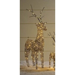 135cm Brown Wicker Standing Reindeer Outdoor - Warm White LED