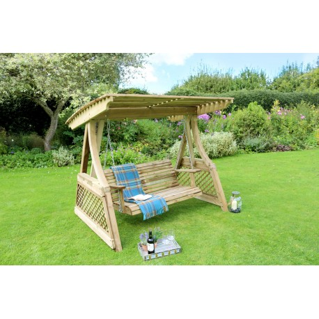 Alicante 2 Seat Wooden Garden Swing with Canopy
