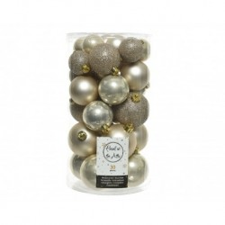 Christmas Shatterproof Baubles - Mixed Tube of 30 Shiny, Matt and Glitter Finish Baubles in Pearl