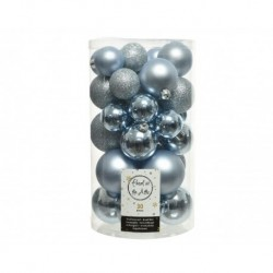 Christmas Shatterproof Baubles - Mixed Tube of 30 Shiny, Matt and Glitter Finish Baubles in Winter Blue Sky