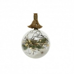 Christmas Pre-lit Glass Bauble with snowy Pine decor and Jute Rope (Battery power Warm White LED)