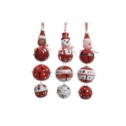 Set of 3 Iron Bell Hanging Puppets - Santa, Snowman, Bear