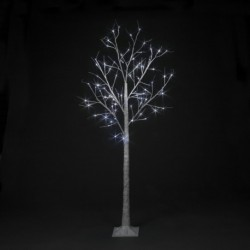 Pre-Lit Christmas White Birch Tree 180cm/6ft height with 80 Cool Ice White Micro Led