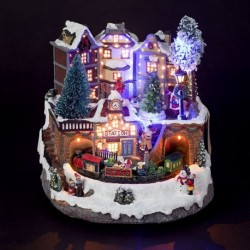 Light Up Christmas Village Scene with moving Train and Fibre Optics