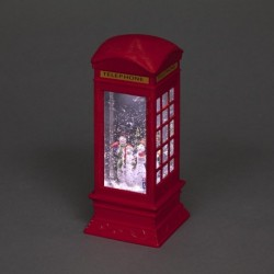 Light Up Christmas Globe Telephone box Water Lantern with Snowman Scene