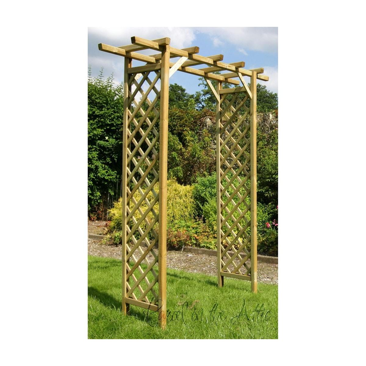 Flat Top Garden Arch with Trellis